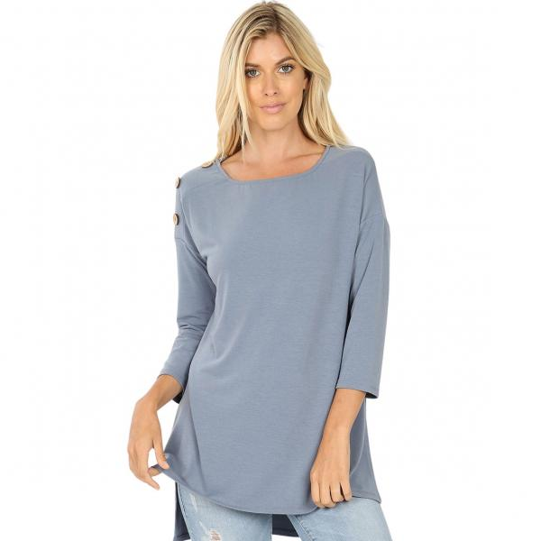 Wholesale Boat Neck Hi-Lo Top w/ Wooden Buttons 2082 CEMENT Boat Neck Hi-Lo Top w/ Wooden Buttons 2082 - X-Large
