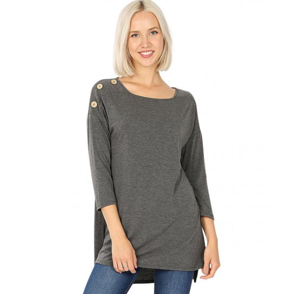Wholesale Boat Neck Hi-Lo Top w/ Wooden Buttons 2082 CHARCOAL Boat Neck Hi-Lo Top w/ Wooden Buttons 2082 - X-Large