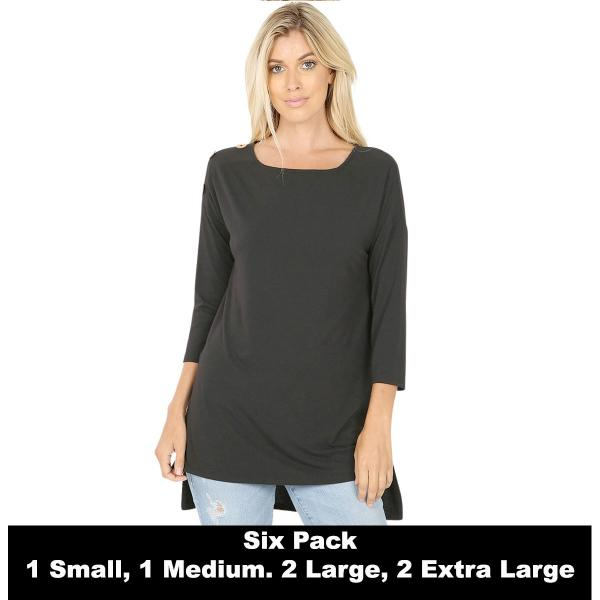 Wholesale Boat Neck Hi-Lo Top w/ Wooden Buttons 2082  BLACK (SIX PACK) Boat Neck Hi-Lo Top w/ Wooden Buttons 2082 (1S/1M/2L/2XL) - 1 Small 1 Medium 2 Large 2 Extra Large