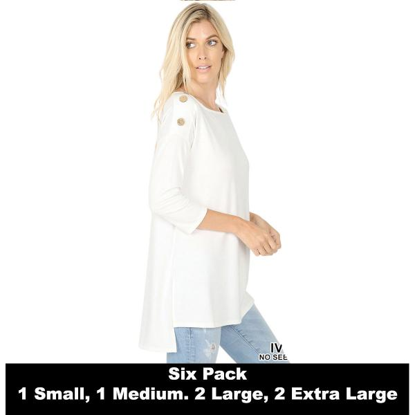 Wholesale Boat Neck Hi-Lo Top w/ Wooden Buttons 2082  IVORY (SIX PACK) Boat Neck Hi-Lo Top w/ Wooden Buttons 2082 (1S/1M/2L/2XL) - 1 Small 1 Medium 2 Large 2 Extra Large