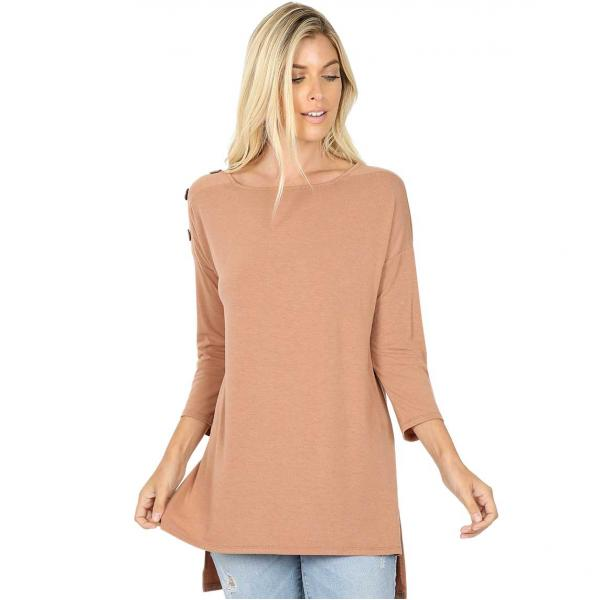 Wholesale Boat Neck Hi-Lo Top w/ Wooden Buttons 2082 EGG SHELL Boat Neck Hi-Lo Top w/ Wooden Buttons 2082 - Large