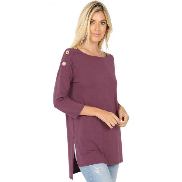 Wholesale Boat Neck Hi-Lo Top w/ Wooden Buttons 2082 EGGPLANT Boat Neck Hi-Lo Top w/ Wooden Buttons 2082 - Small