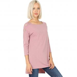 Wholesale  LIGHT ROSE Boat Neck Hi-Lo Top w/ Wooden Buttons 2082 - Large