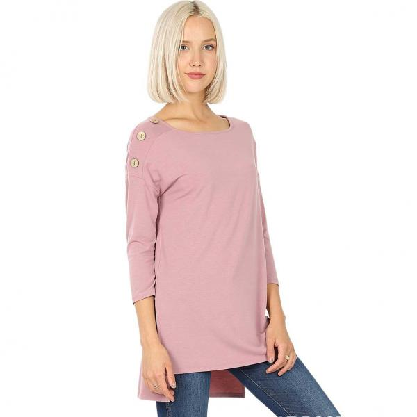 Wholesale Boat Neck Hi-Lo Top w/ Wooden Buttons 2082 LIGHT ROSE Boat Neck Hi-Lo Top w/ Wooden Buttons 2082 - Small
