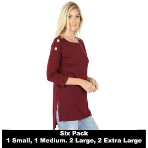 Wholesale   DARK BURGUNDY (SIX PACK) Boat Neck Hi-Lo Top w/ Wooden Buttons 2082 (1S/1M/2L/2XL) - 1 Small 1 Medium 2 Large 2 Extra Large
