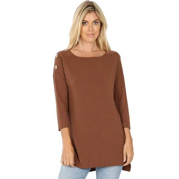 Wholesale Boat Neck Hi-Lo Top w/ Wooden Buttons 2082  LIGHT BROWN (SIX PACK) Boat Neck Hi-Lo Top w/ Wooden Buttons 2082 (1S/1M/2L/2XL) - 1 Small 1 Medium 2 Large 2 Extra Large