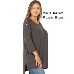 Wholesale  ASH GREY Boat Neck Hi-Lo Top w/ Wooden Buttons 2082 - 2X
