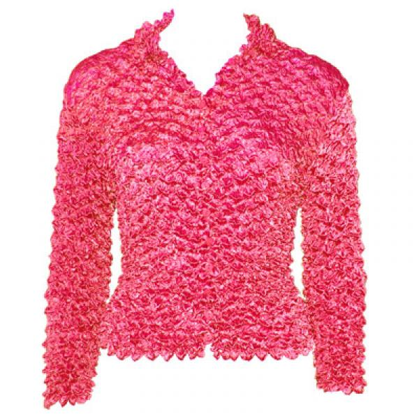 Wholesale Gourmet Popcorn - Cardigans with Collar Shocking Pink - One Size (S-XL)