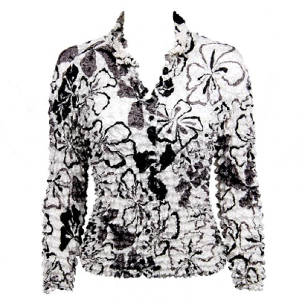 Wholesale Gourmet Popcorn - Cardigans with Collar White-Black-Grey Flowers - One Size (S-XL)