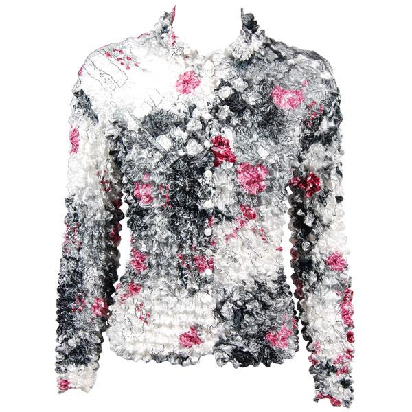 Wholesale Gourmet Popcorn - Cardigans with Collar White-Black-Pink Floral - One Size (S-XL)