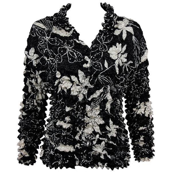 Wholesale Gourmet Popcorn - Cardigans with Collar Floral - White on Black - One Size (S-XL)