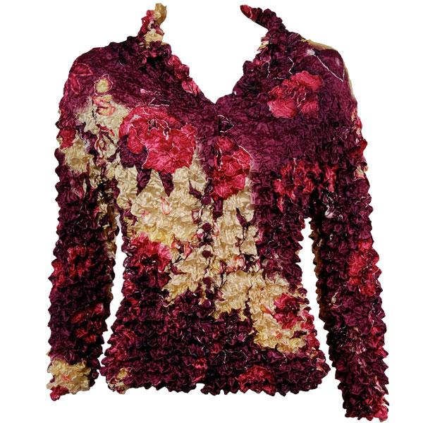 Wholesale Gourmet Popcorn - Cardigans with Collar Rose Floral - Berry - One Size (S-XL)