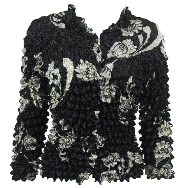 Wholesale Gourmet Popcorn - Cardigans with Collar White Daisies on Black - One Size (S-XL)