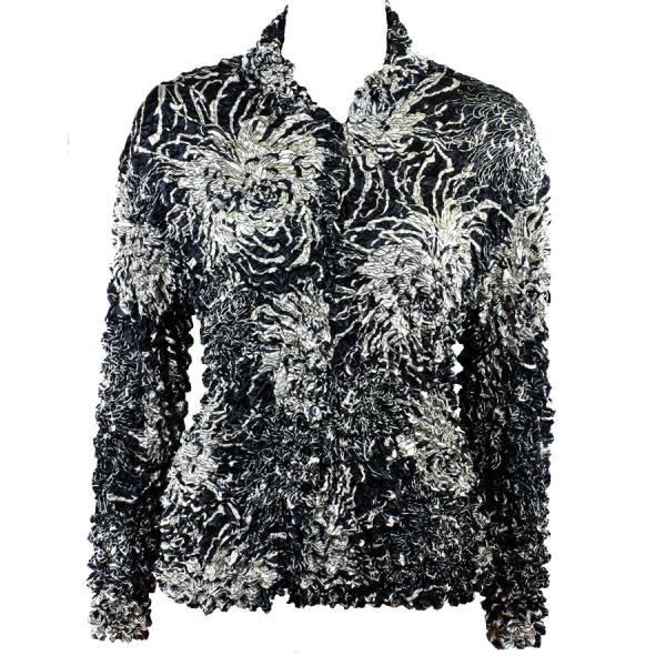 Wholesale Gourmet Popcorn - Cardigans with Collar Abstract Flowers Black-Tan - One Size (S-XL)