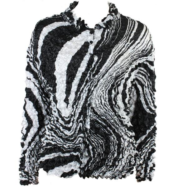 Wholesale Gourmet Popcorn - Cardigans with Collar Swirl Black-White - One Size (S-XL)