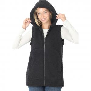 Wholesale  Black Vest Sherpa High-Low Hooded Vest with Pockets 2865 - Large