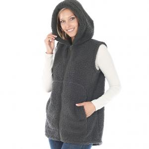 Metallic Print Shawls with Buttons Ash Grey Vest Sherpa High-Low Hooded Vest with Pockets 2865 - Medium