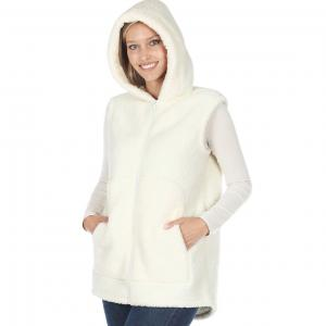 Wholesale  Ivory Vest Sherpa High-Low Hooded Vest with Pockets 2865 - Medium