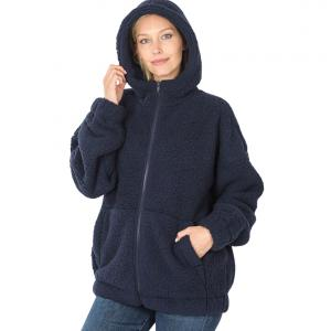 Metallic Print Shawls with Buttons Navy Soft Sherpa Hooded Jacket with Zipper 75016 - Small