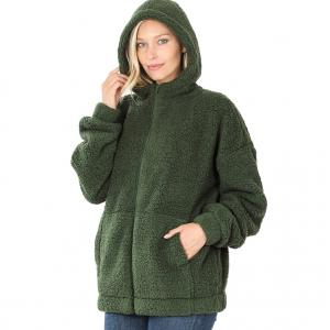 Metallic Print Shawls with Buttons Army Green Soft Sherpa Hooded Jacket with Zipper 75016 - Large