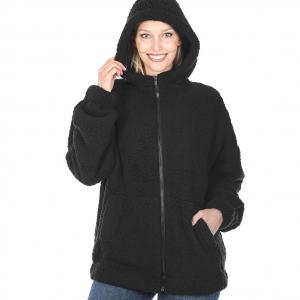 Metallic Print Shawls with Buttons Black Soft Sherpa Hooded Jacket with Zipper 75016 - Large