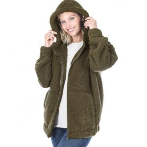 Metallic Print Shawls with Buttons Dark Olive Soft Sherpa Hooded Jacket with Zipper 75016 - Large
