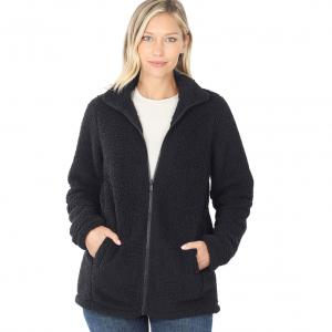 Wholesale  Black Sherpa Zipper Front w/Pockets 2827 - Small