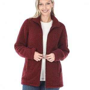 Metallic Print Shawls with Buttons Dark Burgundy Sherpa Zipper Front w/Pockets 2827 - X-Large
