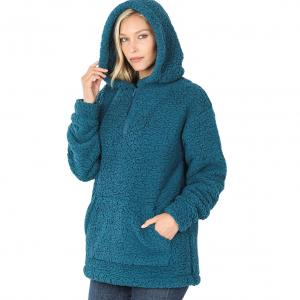 Metallic Print Shawls with Buttons Teal Sherpa Half Zip Hoodie with Kangaroo Pocket 2845 - Small