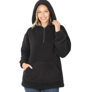 Metallic Print Shawls with Buttons Black Sherpa Half Zip Hoodie with Kangaroo Pocket 2845 - Large