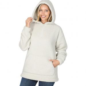 Metallic Print Shawls with Buttons Ivory Sherpa Half Zip Hoodie with Kangaroo Pocket 2845 - Large