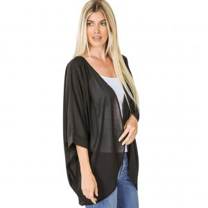 Metallic Print Shawls with Buttons Black Cardigan - Woven Chiffon with Shoulder Pleat 2721 - Medium