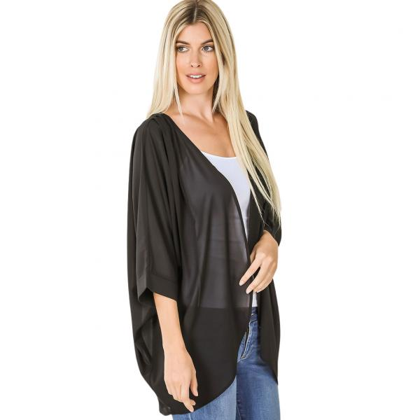 Wholesale Cardigan - Woven Chiffon with Shoulder Pleat 2721 BLACK CARDIGAN - Woven Chiffon with Shoulder Pleat 2721 - Large