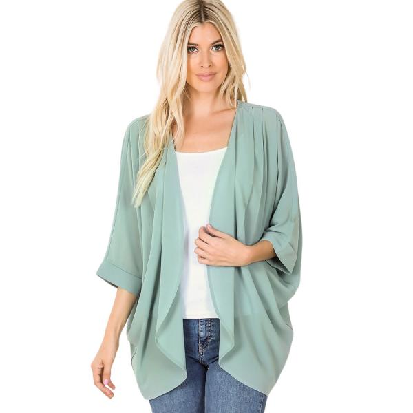 Wholesale Cardigan - Woven Chiffon with Shoulder Pleat 2721 LIGHT GREEN CARDIGAN - Woven Chiffon with Shoulder Pleat 2721 - Small