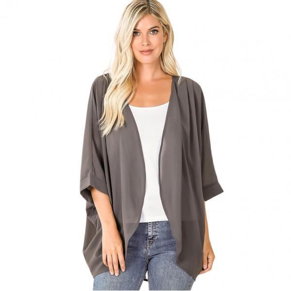 Wholesale Cardigan - Woven Chiffon with Shoulder Pleat 2721 ASH GREY CARDIGAN - Woven Chiffon with Shoulder Pleat 2721 - Large