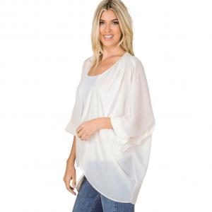 Wholesale  CREAM CARDIGAN - Woven Chiffon with Shoulder Pleat 2721 - Medium