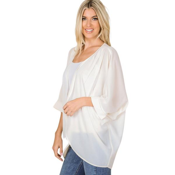 Wholesale Cardigan - Woven Chiffon with Shoulder Pleat 2721 CREAM CARDIGAN - Woven Chiffon with Shoulder Pleat 2721 - Large