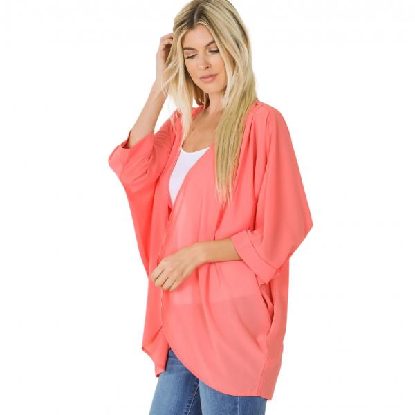 Wholesale Cardigan - Woven Chiffon with Shoulder Pleat 2721 DEEP CORAL CARDIGAN - Woven Chiffon with Shoulder Pleat 2721 - Large