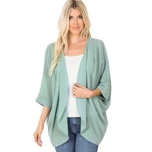 Wholesale  LIGHT GREEN CARDIGAN - Woven Chiffon with Shoulder Pleat 2721 - Large