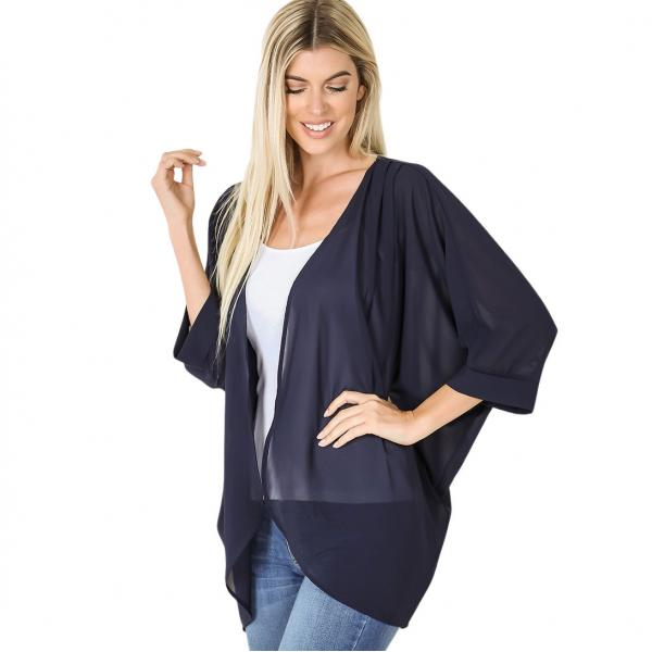 Wholesale Cardigan - Woven Chiffon with Shoulder Pleat 2721 MIDNIGHT CARDIGAN - Woven Chiffon with Shoulder Pleat 2721 - Medium