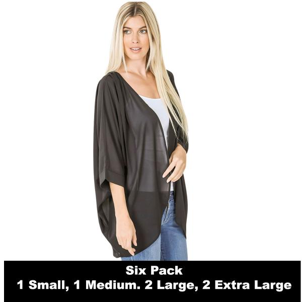 Wholesale Cardigan - Woven Chiffon with Shoulder Pleat 2721  BLACK SIX PACK - CARDIGAN - Woven Chiffon with Shoulder Pleat 2721 - 1 Small 1 Medium 2 Large 2 Extra Large