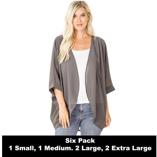 Wholesale Cardigan - Woven Chiffon with Shoulder Pleat 2721  ASH GREY SIX PACK - CARDIGAN - Woven Chiffon with Shoulder Pleat 2721 - 1 Small 1 Medium 2 Large 2 Extra Large