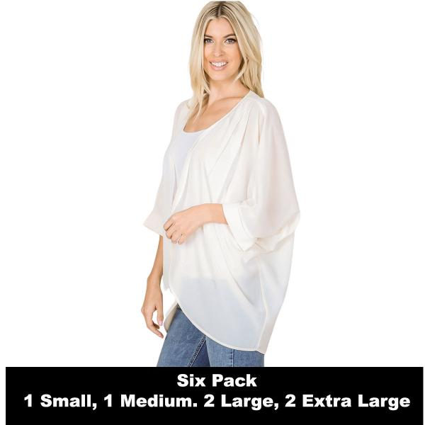 Wholesale Cardigan - Woven Chiffon with Shoulder Pleat 2721  CREAM SIX PACK - CARDIGAN - Woven Chiffon with Shoulder Pleat 2721 - 1 Small 1 Medium 2 Large 2 Extra Large
