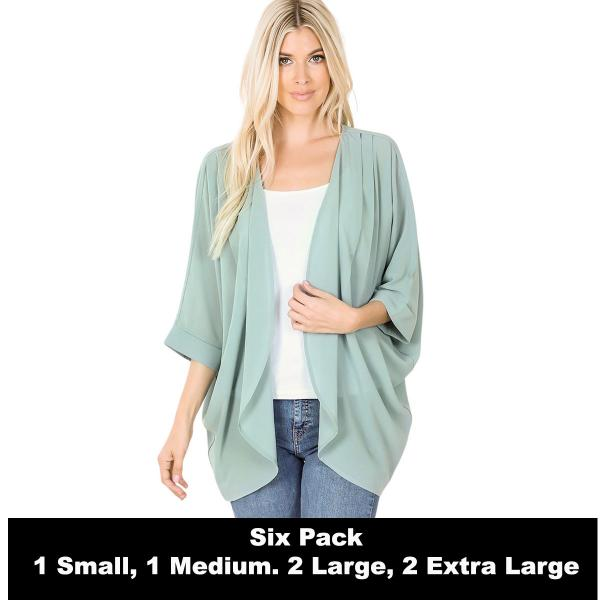 Wholesale Cardigan - Woven Chiffon with Shoulder Pleat 2721  LIGHT GREEN SIX PACK - CARDIGAN - Woven Chiffon with Shoulder Pleat 2721 - 1 Small 1 Medium 2 Large 2 Extra Large