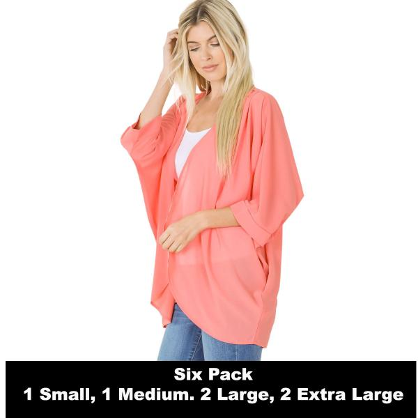 Wholesale Cardigan - Woven Chiffon with Shoulder Pleat 2721  DEEP CORAL SIX PACK - CARDIGAN - Woven Chiffon with Shoulder Pleat 2721 - 1 Small 1 Medium 2 Large 2 Extra Large