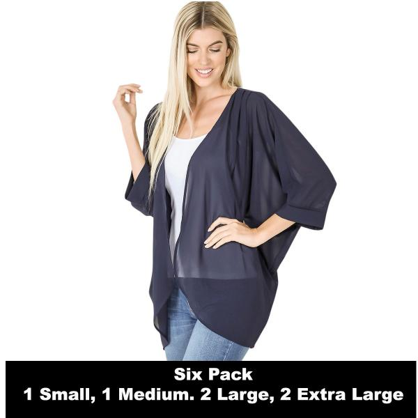 Wholesale Cardigan - Woven Chiffon with Shoulder Pleat 2721  MIDNIGHT SIX PACK - CARDIGAN - Woven Chiffon with Shoulder Pleat 2721 - 1 Small 1 Medium 2 Large 2 Extra Large