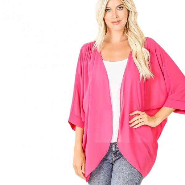 Wholesale Cardigan - Woven Chiffon with Shoulder Pleat 2721 HOT PINK CARDIGAN - Woven Chiffon with Shoulder Pleat 2721 - Small