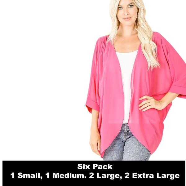 Wholesale Cardigan - Woven Chiffon with Shoulder Pleat 2721  HOT PINK SIX PACK - CARDIGAN - Woven Chiffon with Shoulder Pleat 2721 - 1 Small 1 Medium 2 Large 2 Extra Large