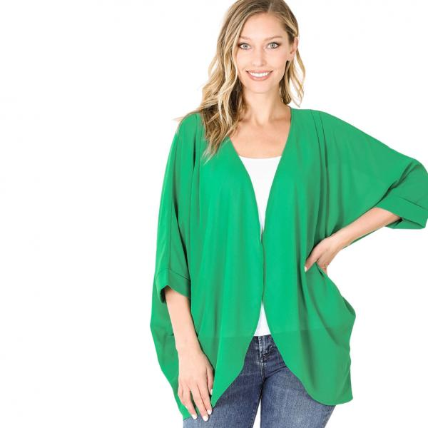 Wholesale Cardigan - Woven Chiffon with Shoulder Pleat 2721 KELLY GREEN CARDIGAN - Woven Chiffon with Shoulder Pleat 2721 - Large
