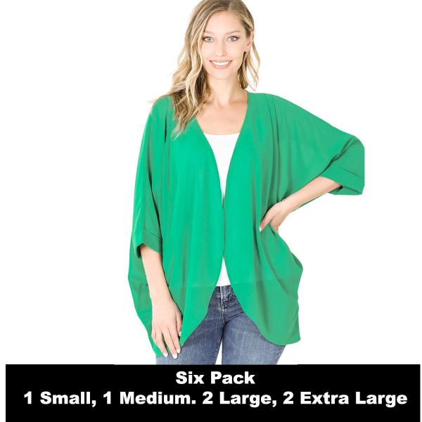 Wholesale Cardigan - Woven Chiffon with Shoulder Pleat 2721  KELLY SIX PACK - CARDIGAN - Woven Chiffon with Shoulder Pleat 2721 - 1 Small 1 Medium 2 Large 2 Extra Large